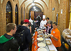 Oct. 31, 2013; Students sample ice cream on their way into lunch at South Dining Hall as part of an effort to find a new ice cream vendor for the University as a result of South Bend-based Bonnie Doon's going out of business.<br /> <br /> Photo by Matt Cashore/University of Notre Dame