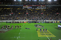 The All Blacks perform a haka before the Steinlager Series international rugby match between the New Zealand All Blacks and France at Westpac Stadium in Wellington, New Zealand on Saturday, 16 June 2018. Photo: Dave Lintott / lintottphoto.co.nz