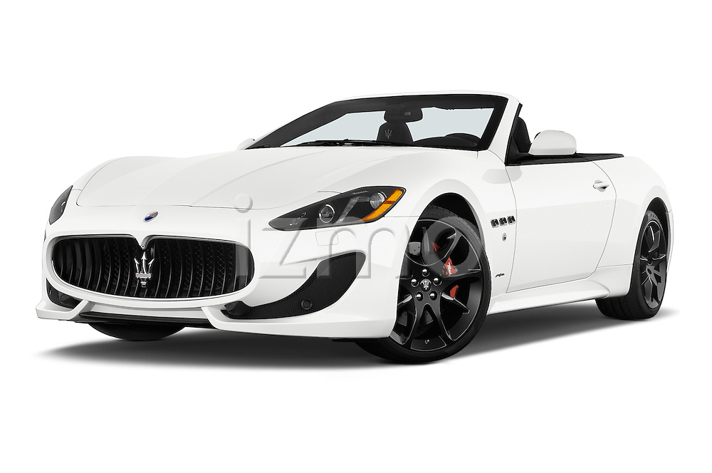 Stock pictures of low aggressive front three quarter view of a 2014 Maserati GranTurismo Convertible Sport Door convertible Low Aggressive