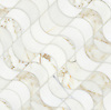 Demi Lune, a waterjet stone mosaic, shown in honed Heavenly Cream and Calacatta, is part of the Illusions™ Collection by Sara Baldwin.