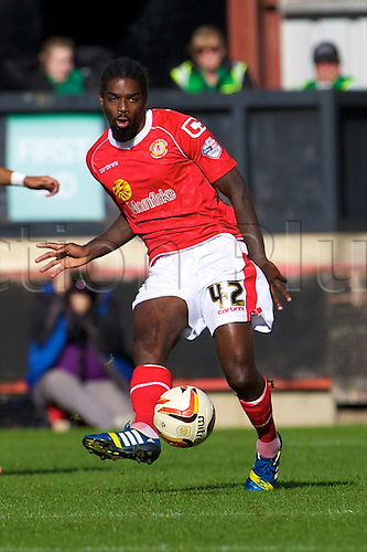 14.09.2013 Crewe, England. Crewe Alexandra midfielder Anthony Grant in action during the League One game between Crewe Alexandra and Walsall FC from the Alexandra Stadium