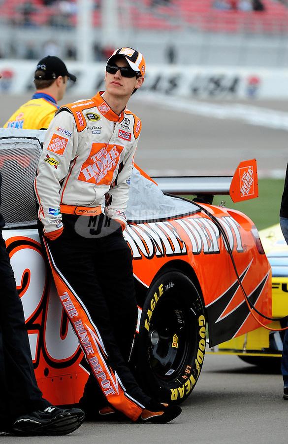 Feb. 26, 2010; Las Vegas, NV, USA; NASCAR Sprint Cup Series driver Joey Logano during qualifying for the Shelby American at Las Vegas Motor Speedway. Mandatory Credit: Mark J. Rebilas-