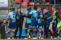Wycombe Wanderers Manager Gareth Ainsworth chats to his players during the Sky Bet League 2 match between Leyton Orient and Wycombe Wanderers at the Matchroom Stadium, London, England on 1 April 2017. Photo by Andy Rowland.
