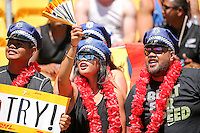 Sevens fans celebrate during day two of the 2016 HSBC Wellington Sevens at Westpac Stadium, Wellington, New Zealand on Sunday, 31 January 2016. Photo: Martin Hunter / lintottphoto.co.nz