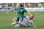 25 April 2009: Elise Weber (12) of Saint Louis Athletica battles Brittany Bock (behind) of the Los Angeles Sol for a loose ball.  Saint Louis Athletica tied the visiting Los Angeles Sol 0-0  in a regular season Women's Professional Soccer game at Robert R. Hermann Stadium at St. Louis University, St. Louis, Missouri.