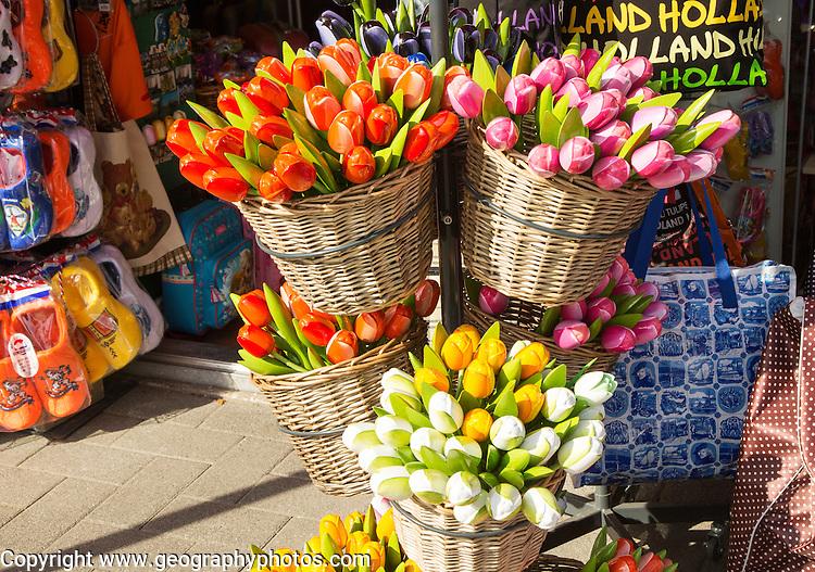 Souvenir wooden tulip flowers on sale outside a tourist shop, Rotterdam, Netherlands