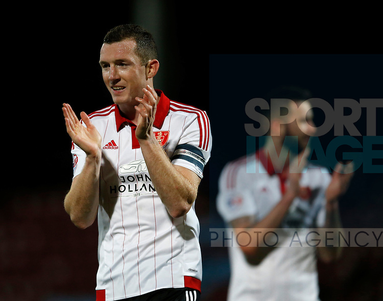 Neill Collins of Sheffield Utd celebrates the win - English League One - Scunthorpe Utd vs Sheffield Utd - Glandford Park Stadium - Scunthorpe - England - 19th December 2015 - Pic Simon Bellis/Sportimage
