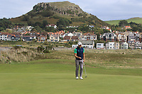 Jonathan Yates from Ireland on the 3rd green during Round 2 Singles of the Men's Home Internationals 2018 at Conwy Golf Club, Conwy, Wales on Thursday 13th September 2018.<br /> Picture: Thos Caffrey / Golffile<br /> <br /> All photo usage must carry mandatory copyright credit (&copy; Golffile | Thos Caffrey)