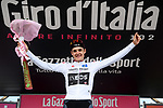 Pavel Sivakov (RUS) Team Ineos takes over the young riders Maglia Bianca at the end of Stage 13 of the 2019 Giro d'Italia, running 196km from Pinerolo to Ceresole Reale (Lago Serrù), Italy. 24th May 2019<br /> Picture: Gian Mattia D'Alberto/LaPresse | Cyclefile<br /> <br /> All photos usage must carry mandatory copyright credit (© Cyclefile | FGian Mattia D'Alberto/LaPresse)