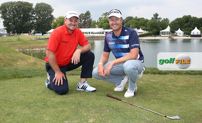 Srixon buddies Merrick Bremner (RSA) &amp; Jacques Blaaw (RSA) during the practice day ahead of the 2015 Lyoness Open powered by Greenfinity at the Diamond Country Club, Atzenbrugg, Vienna, Austria. 09/06/2015. Picture: Golffile   David Lloyd<br /> <br /> All photos usage must carry mandatory copyright credit (&copy; Golffile   David Lloyd)