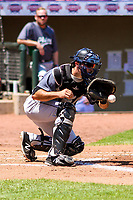 Clinton LumberKings catcher Ryan Scott (7) fields a throw at home plate during a Midwest League game against the Cedar Rapids Kernels on May 28, 2018 at Perfect Game Field at Veterans Memorial Stadium in Cedar Rapids, Iowa. Clinton defeated Cedar Rapids 4-3. (Brad Krause/Four Seam Images)