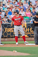 Bruce Maxwell (11) of the Nashville Sounds during the game against the Salt Lake Bees at Smith's Ballpark on July 27, 2018 in Salt Lake City, Utah. The Bees defeated the Sounds 8-6. (Stephen Smith/Four Seam Images)