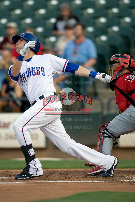 Round Rock Express first baseman Chad Tracy #28 at bat during a game against the Memphis Redbirds at the Dell Diamond on July 7, 2011in Round Rock, Texas.  Round Rock defeated Memphis 6-4.  (Andrew Woolley / Four Seam Images)