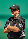 14 April 2018: MLB Umpire Ron Kulpa has a chat with Washington Nationals  third base coach Bob Henley during a game against the Colorado Rockies at Nationals Park in Washington, DC. The Nationals rallied to defeat the Rockies 6-2 in the 3rd game of their 4-game series. Mandatory Credit: Ed Wolfstein Photo *** RAW (NEF) Image File Available ***