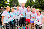 L-R Orla Dennehy from Beaufort, Lisa O'Shea from Listry, Daniel O'Sullivan from Killgarvan, Tara O'Shea from Beaufort, Sharon Healy from Killorglin and Aisling O'Sullivan from Killorglin at the Kerry Colour Run in Killarney last Saturday morning.
