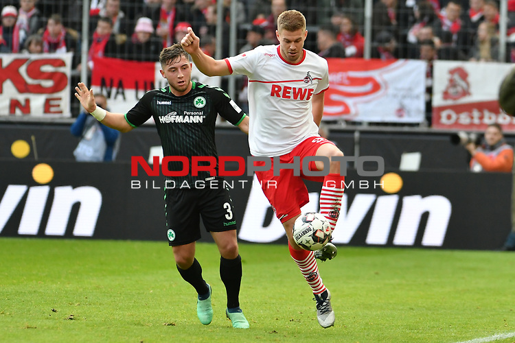 01.12.2018, RheinEnergieStadion, Koeln, GER, 2. FBL, 1.FC Koeln vs. SpVgg Greuther Fürth,<br />  <br /> DFL regulations prohibit any use of photographs as image sequences and/or quasi-video<br /> <br /> im Bild / picture shows: <br /> Simon Terodde (FC Koeln #9), im Zweikampf gegen  Maximilian Wittek (Fuerth #3), <br /> <br /> Foto © nordphoto / Meuter