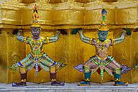 Khon figures guarding stupa, Wat Phra Kaeo, Bangkok, Thailand.