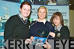IN THE NAVY: Students from Gael Cholaiste Chiarrai Ceire Ni Dhalaigh and Cheryl Ni Shuilleabhain got information from Lt. Niamh O'Donoghue from Naval Recruitmant Officer about life in the service on Tuesday at the Careers Fair in the Brandon Hotel, Tralee.