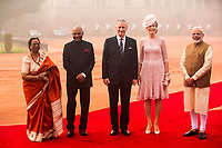 King Philippe & Queen Mathilde of Belgium attend a welcome ceremony - New Delhi - India