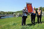 Jack Leetch,  Johnny Stewart and Reverend Mervin Gibson pictured with the new banner created by Johnny at the Orange Order march at Oldbridge. Photo: Colin Bell/pressphotos.ie