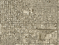 historical aerial photograph of Phoenix, Arizona, 1967