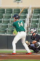 Justin Bohn (14) of the Greensboro Grasshoppers at bat against the Kannapolis Intimidators at CMC-Northeast Stadium on June 12, 2014 in Kannapolis, North Carolina.  The Grasshoppers defeated the Intimidators 5-2.  (Brian Westerholt/Four Seam Images)