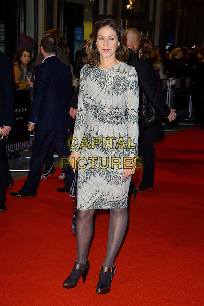 "Julia Bradbury.The ""Arbitrage"" UK film premiere, Odeon West End cinema, Leicester Square, London, England..February 20th 2013.full length grey gray print long sleeve dress clutch bag tights ankle boots .CAP/CJ.©Chris Joseph/Capital Pictures."