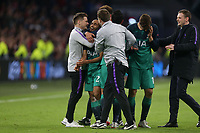 /Spura p layers including Lucas celebrate the victory after AFC Ajax vs Tottenham Hotspur, UEFA Champions League Football at the Johan Cruyff Arena on 8th May 2019