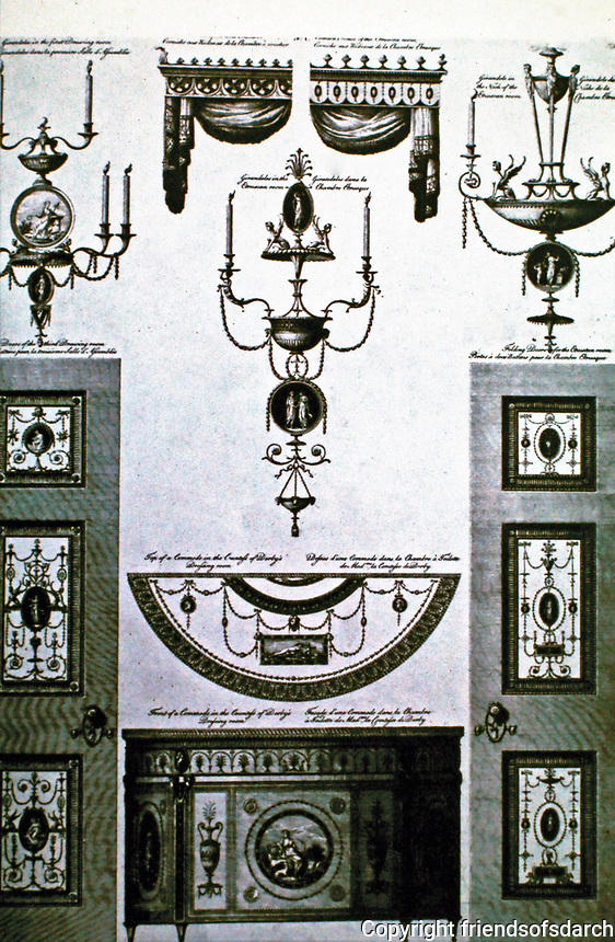 The Adam Style: an integrated style for architecture and interiors; with walls, ceilings, fireplaces, furniture, fixtures, fittings and carpets all being designed by Adam as a single uniform scheme. Late 1760's.