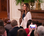 Melania Trump arrives for a news conference with United States President Donald J. Trump and the President of the Republic of Poland  Andrzej Duda at The White House in Washington, DC, September 18, 2018. Credit: Chris Kleponis / CNP