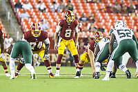 Landover, MD - August 16, 2018: Washington Redskins quarterback Kevin Hogan (8) calls the play during the preseason game between New York Jets and Washington Redskins at FedEx Field in Landover, MD.   (Photo by Elliott Brown/Media Images International)