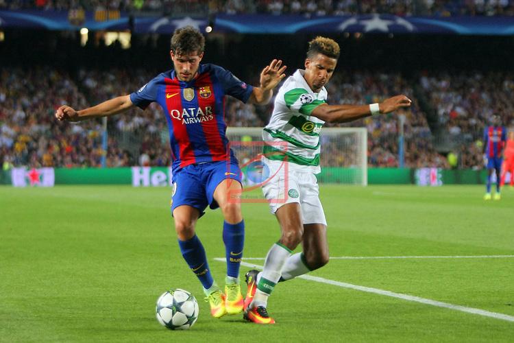 UEFA Champions League 2016/2017 - Matchday 1.<br /> FC Barcelona vs Celtic FC: 7-0.<br /> Sergi Roberto vs Moussa Dembele.