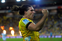 Hurricanes winger Kobus Van EWyk celebrates his try  during the Super Rugby match between the Hurricanes and Blues at Sky Stadium in Wellington, New Zealand on Saturday, 7 March 2020. Photo: Dave Lintott / lintottphoto.co.nz
