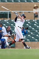 Salt River Rafters left fielder Brian Miller (10), of the Miami Marlins organization, follows through on his swing during an Arizona Fall League game against the Surprise Saguaros at Salt River Fields at Talking Stick on October 23, 2018 in Scottsdale, Arizona. Salt River defeated Surprise 7-5 . (Zachary Lucy/Four Seam Images)