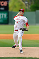 Pitcher Ty Buttrey (47) of the Greenville Drive delivers a pitch in a game against the Lexington Legends on Tuesday, April 14, 2015, at Fluor Field at the West End in Greenville, South Carolina. Buttrey was a fourth-round pick of the Boston Red Sox in the 2012 First-Year Player Draft. Lexington won, 5-3. (Tom Priddy/Four Seam Images)
