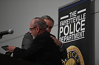 NWA Democrat-Gazette/J.T. WAMPLER Image from Fayetteville police chief Greg Tabor's retirement ceremony at the Fayetteville Town Center Wednesday Sept. 11, 2019.<br /> Tabor served 34 years in law enforcement, joining the Fayetteville Police Department in 1985. Tabor has termed out under the state's retirement system for law enforcement and firefighters, prompting his retirement this year. His last day at work will be Sept. 20. Deputy Chief Mike Reynolds is serving as interim chief until Mayor Lioneld Jordan names a successor.