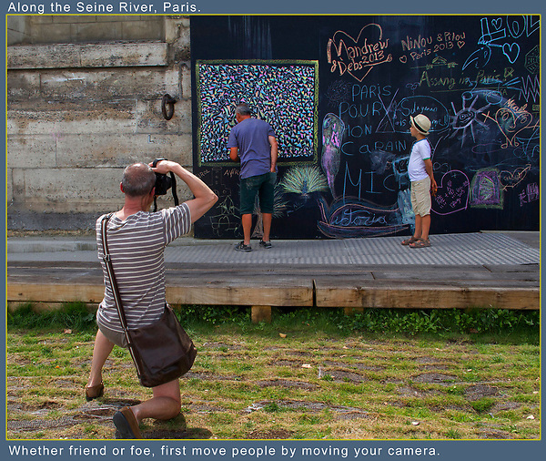 A Flaneur in Paris. The moment I began to photograph this 'chalk' artist, the young boy came over and then a fellow photographer knelt right in front of me. They all looked oh so French, I just enjoyed the moment.<br />