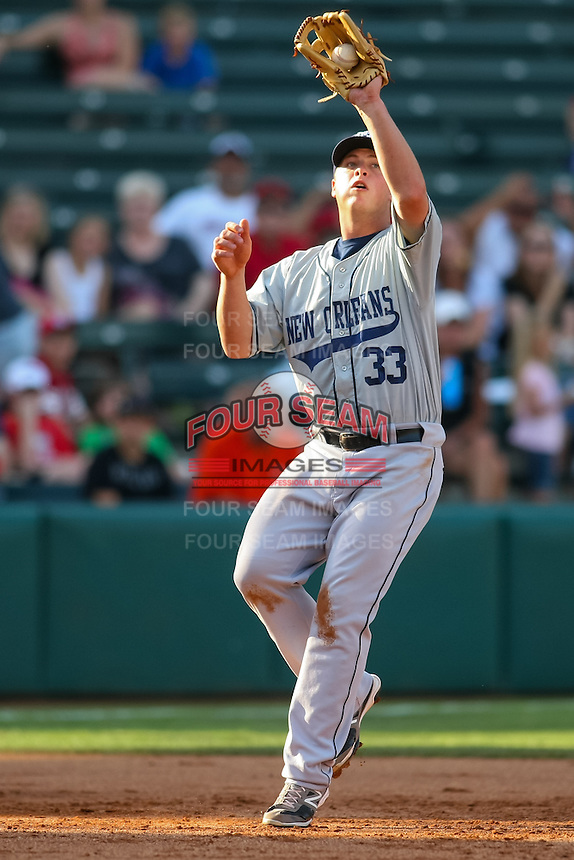 Matt Dominquez (33) in action during the MiLB matchup between the New Orleans Zephyrs and the Oklahoma City Redhawks at Chickasaw Bricktown Ballpark on June 10th, 2012 in Oklahoma City, Oklahoma. The Redhawks defeated the Zephyrs 12-9  (William Purnell/Four Seam Images)