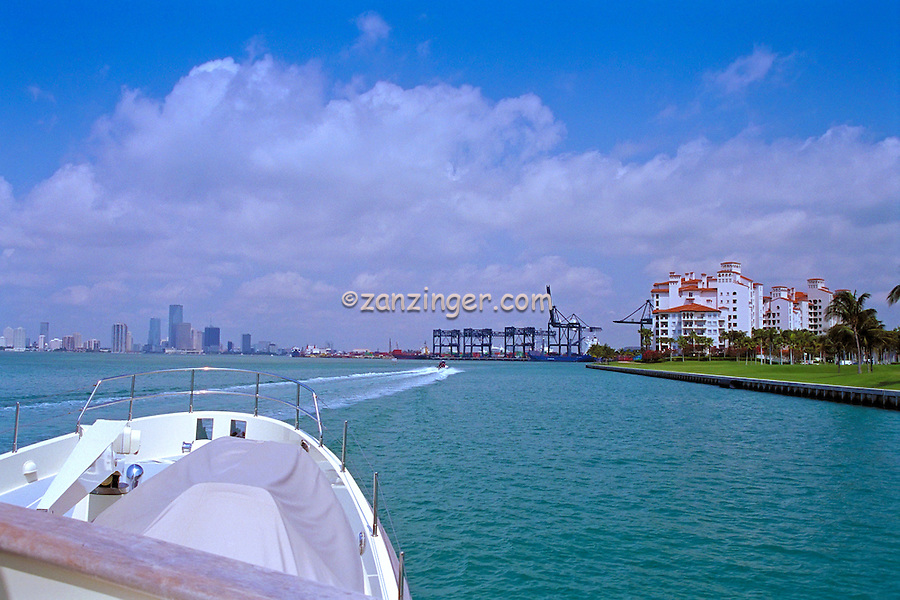 Fisher Island, Miami, FL, Skyline, Gantry Cranes, Port of Miami, Intracoastal Waterway, Miami Florida, USA;
