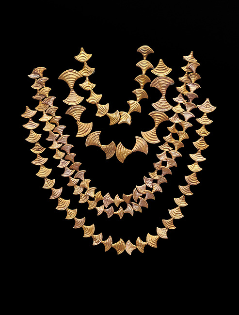 Mycenaean gold necklaces from the Mycenae chamber tombs, Greece. National Archaeological Museum Athens. Black Background<br /> <br /> From top to bottom: <br /> <br /> Top four  necklaces in the shape of papyrus flowers .<br /> <br /> Fifth necklace down in the shape of Ivy leaves from tomb 91 Cat No 3186