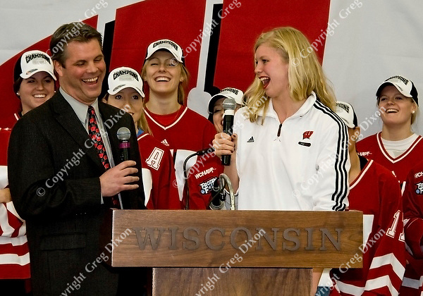 Wisconsin 200-yard backstroke champion, Maggie Meyer, talks to hockey announcer Brian Posick at the event to celebrate the UW women's hockey team's NCAA championship at the Nicholas Johnson Pavilion on Monday, 3/21/11, in Madison, Wisconsin | Photos by Greg Dixon accompanied Andy Baggot article in the Wisconsin State Journal and madison.com at http://j.mp/h1sUOJ
