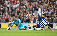 Brighton & Hove Albion's Steven Alzate (right)  is tackled by Tottenham Hotspur's Erik Lamela (left)<br /> <br /> Photographer David Horton/CameraSport<br /> <br /> The Premier League - Brighton and Hove Albion v Tottenham Hotspur - Saturday 5th October 2019 - The Amex Stadium - Brighton<br /> <br /> World Copyright © 2019 CameraSport. All rights reserved. 43 Linden Ave. Countesthorpe. Leicester. England. LE8 5PG - Tel: +44 (0) 116 277 4147 - admin@camerasport.com - www.camerasport.com