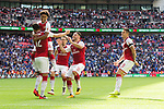 Reiss Nelson of Arsenal celebrates with Olivier Giroud of Arsenal after the The FA Community Shield match at Wembley Stadium, London. Picture date 6th August 2017. Picture credit should read: Charlie Forgham-Bailey/Sportimage