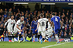 Chelsea's Cesc Fabregas scoring his sides fourth goal during the Premier League match at Stamford Bridge Stadium, London. Picture date: May 15th, 2017. Pic credit should read: David Klein/Sportimage