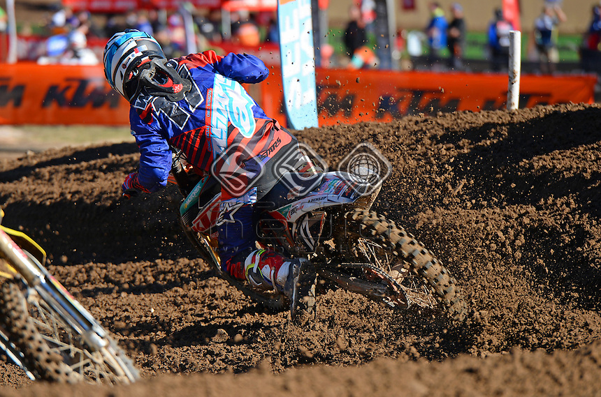 Caleb Ward / KTM - 1st overall<br /> MX Nationals / Round 6 / MX2<br /> Australian Motocross Championships<br /> Raymond Terrace NSW<br /> Sunday 5 July 2015<br /> &copy; Sport the library / Jeff Crow