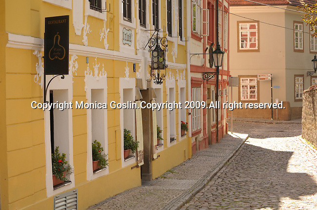 Street near Prague Castle in Prague, Czech Republic.