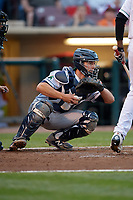 Cedar Rapids Kernels catcher Ben Rortvedt (9) during a game against the Dayton Dragons on May 10, 2017 at Fifth Third Field in Dayton, Ohio.  Cedar Rapids defeated Dayton 6-5 in ten innings.  (Mike Janes/Four Seam Images)