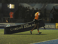 Toyota Cheetahs&rsquo; Craig Barry retrieves signage that has blown onto the pitch in heavy winds<br /> <br /> Photographer Kevin Barnes/CameraSport<br /> <br /> Guinness Pro14  Round 14 - Cardiff Blues v Toyota Cheetahs - Saturday 10th February 2018 - Cardiff Arms Park - Cardiff<br /> <br /> World Copyright &copy; 2018 CameraSport. All rights reserved. 43 Linden Ave. Countesthorpe. Leicester. England. LE8 5PG - Tel: +44 (0) 116 277 4147 - admin@camerasport.com - www.camerasport.com