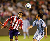 Chivas USA forward Maykel Galindo and Colorado Rapids defender Kosuke Kimura battle. The Colorado Rapids defeated the Chivas USA 1-0 at Home Depot Center stadium in Carson, California on Friday evening March 26, 2010.  .
