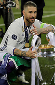 June 3rd 2017, Cardiff City Stadium, Wales; UEFA Champions League Final, Juventus FC versus Real Madrid; Sergio Ramos celebrates with the trophy after their victory